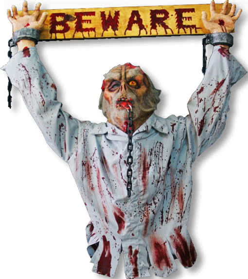 Beware sign beware sign warning plate warning sign horror - Deco halloween tafel maak me ...