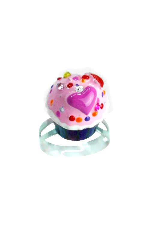 cupcake ring lila rosa ring mit bunt glasiertem cupcake als schmuck horror shop com. Black Bedroom Furniture Sets. Home Design Ideas