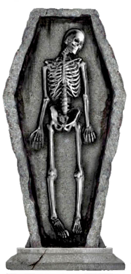 grabstein skelett im sarg skelett im sarg halloween. Black Bedroom Furniture Sets. Home Design Ideas