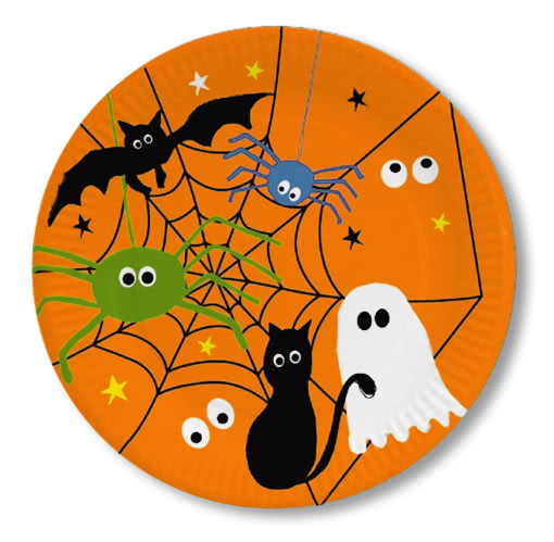 halloween pappteller mit spinnennetz 8er set halloween partygeschirr einwegteller horror shop com. Black Bedroom Furniture Sets. Home Design Ideas