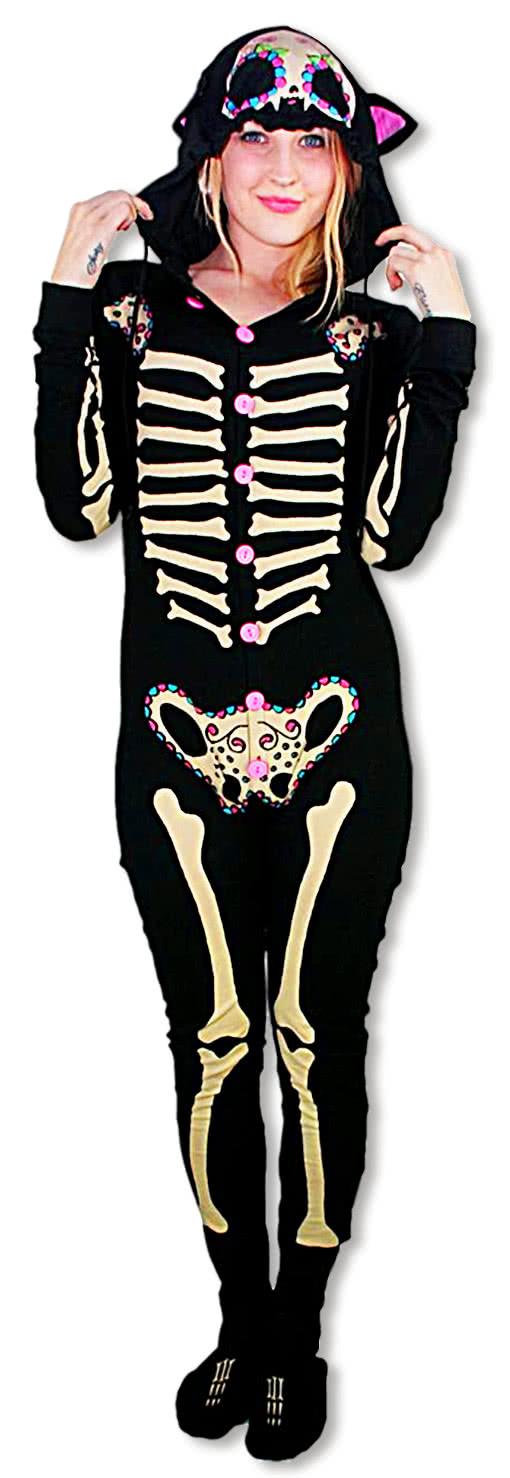 skelett pajama kitty onesie jumper horror shop com. Black Bedroom Furniture Sets. Home Design Ideas