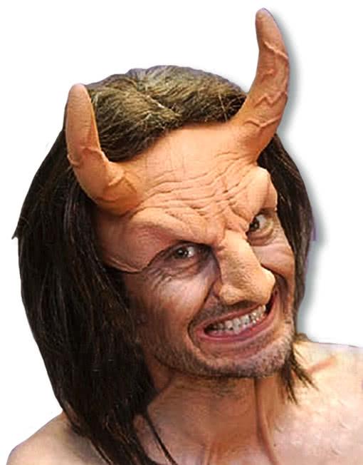 devil half mask with hair mask with horns satan lucifer. Black Bedroom Furniture Sets. Home Design Ideas