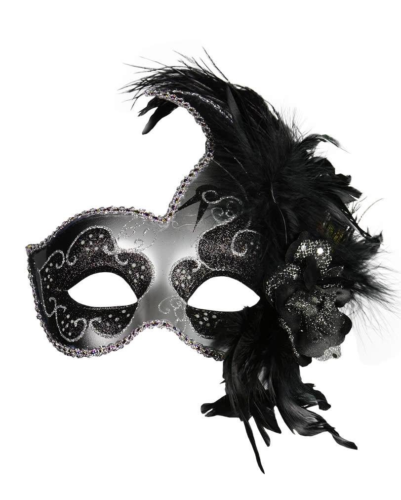 venezianische maske mit federn schwarz silber venezianische masken online kaufen horror. Black Bedroom Furniture Sets. Home Design Ideas